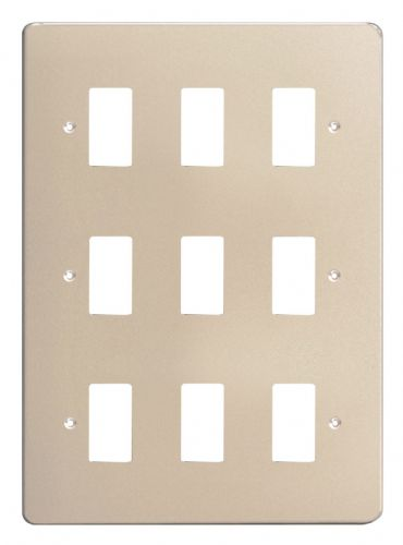 Varilight XDNPG9 PowerGrid Satin Chrome 9-Gang Grid Plate (Triple Twin Plate)